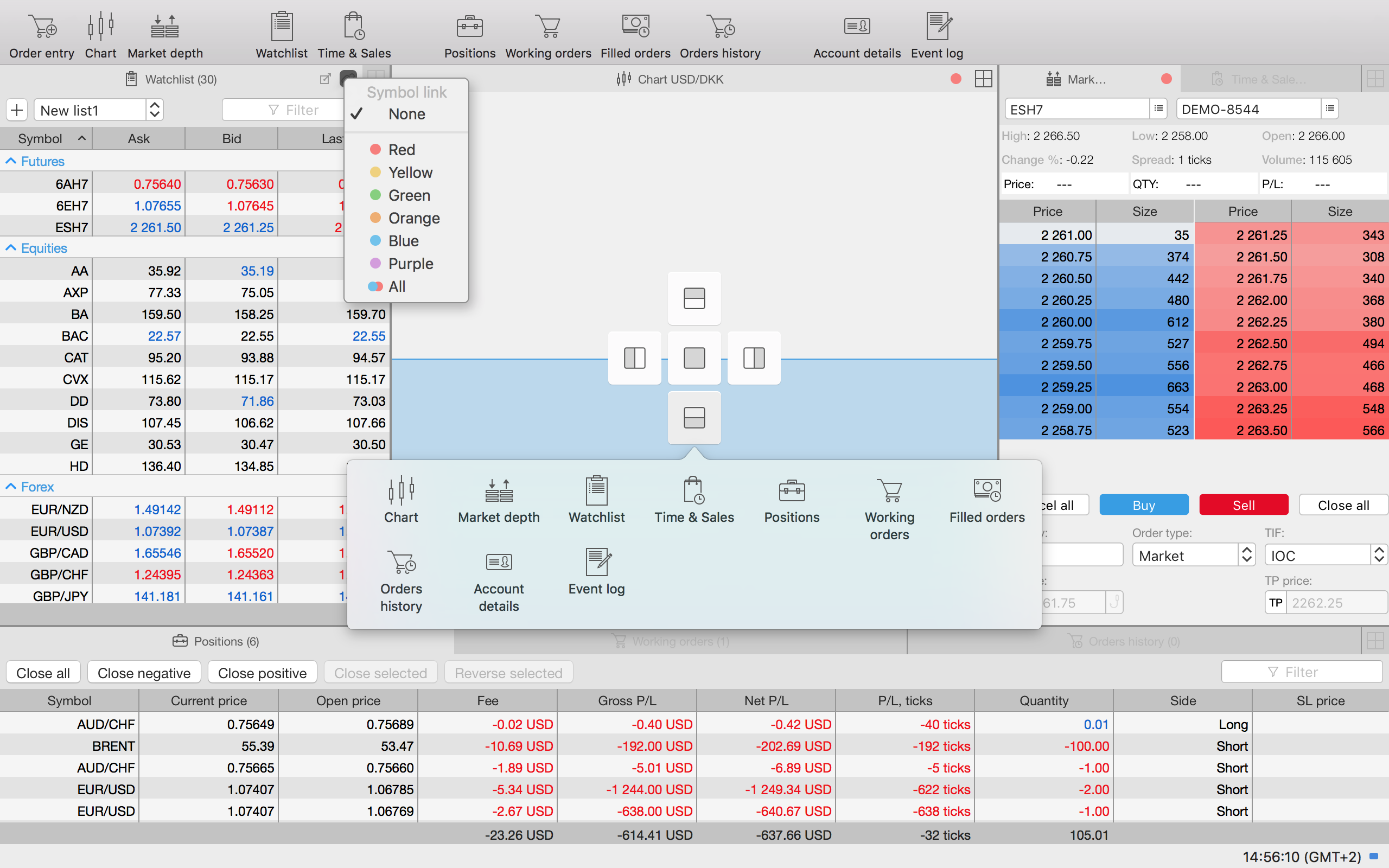 Trading platform interface for Mac